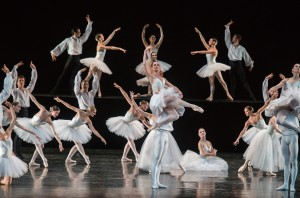 "Aurélie Dupont and Members of the Paris Opera Ballet perform in ""Suite en Blanc"" on July 11, 2012, presented by Lincoln Center Festival 2012 at the David H. Koch Theater. Credit: Stephanie Berger"