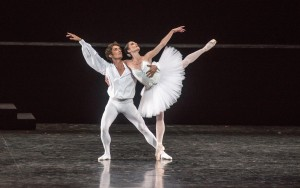 "Aurélie Dupont and Benjamin Pech, Members of the Paris Opera Ballet perform in ""Suite en Blanc"" on July 11, 2012, presented by Lincoln Center Festival 2012 at the David H. Koch Theater. Credit: Stephanie Berger"