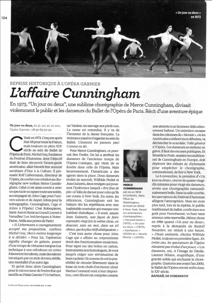 """""""The Cunningham Affaire"""" article in Le nouvel observateur (October 2012)"""